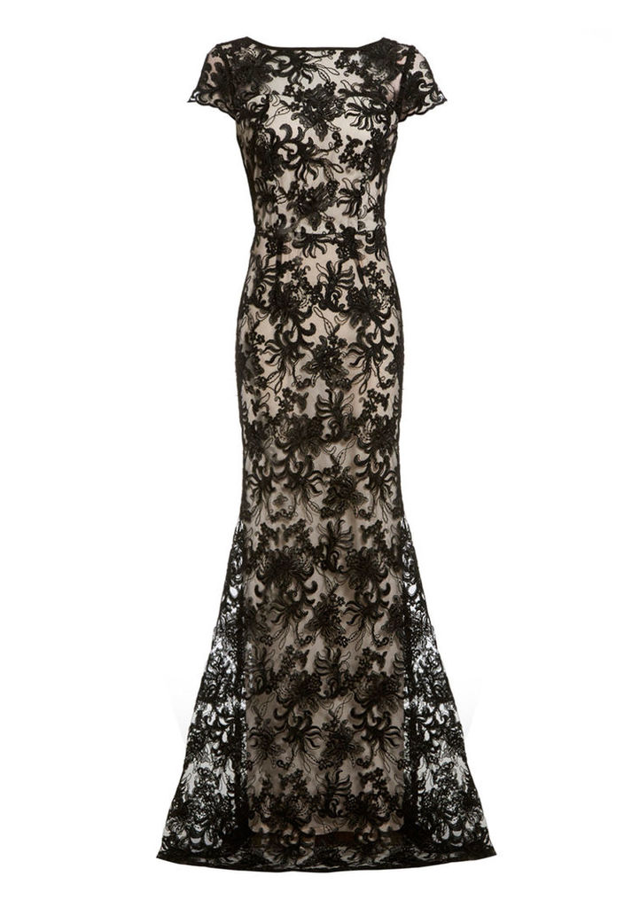 D.Anna Fishtail Lace Maxi Dress in Black