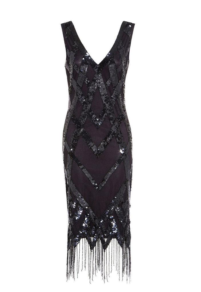 Gatsbylady Exclusive Glitz Flapper Dress in Black