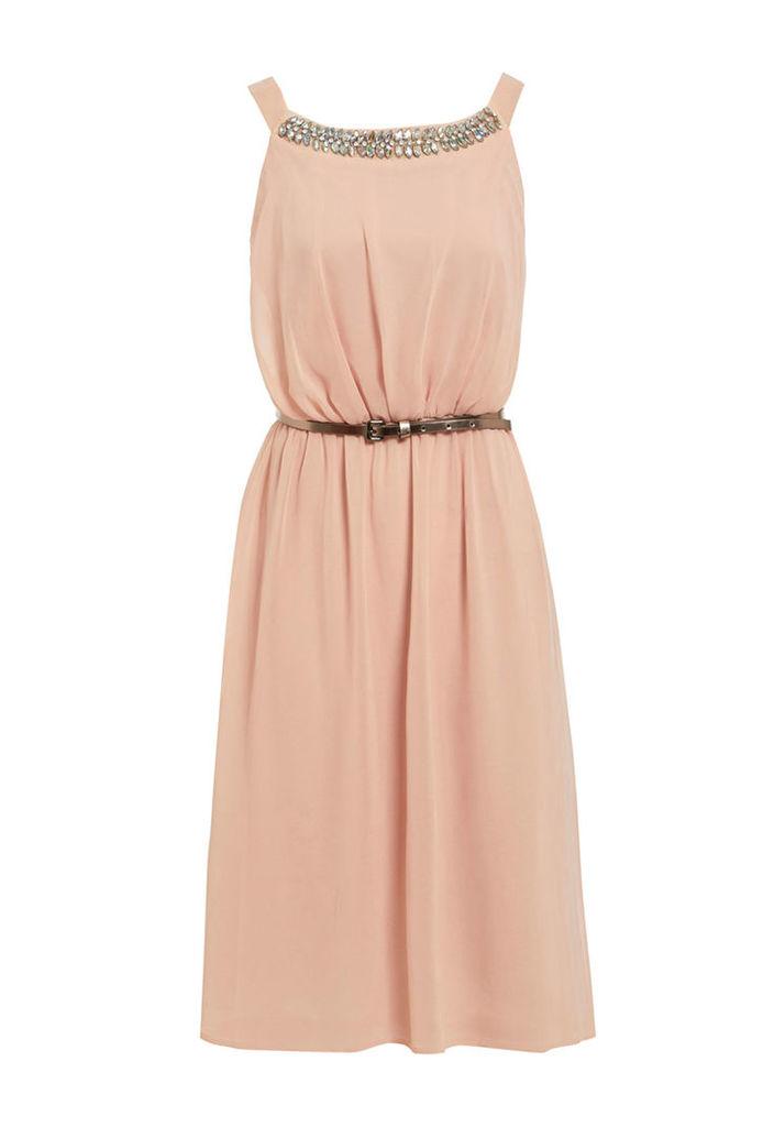 Elise Ryan Grecian Style Dress With Jewel Trim In Blush