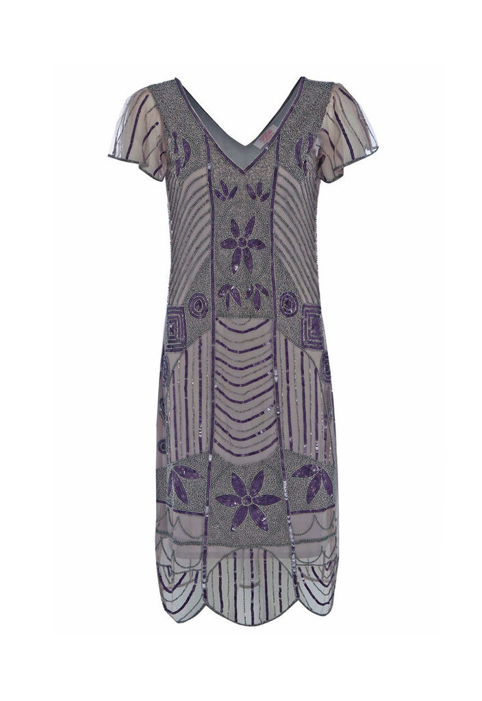 Gatsbylady Daisy Flapper Dress in Taupe Purple