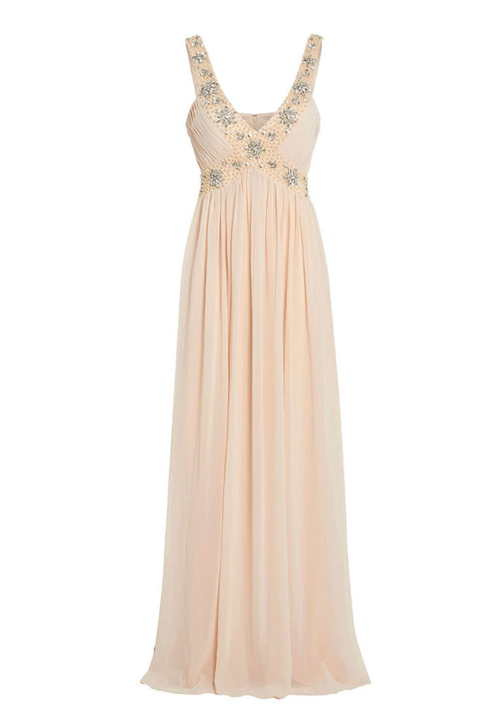 D.Anna Nude Maxi Dress with Bead Embellishment