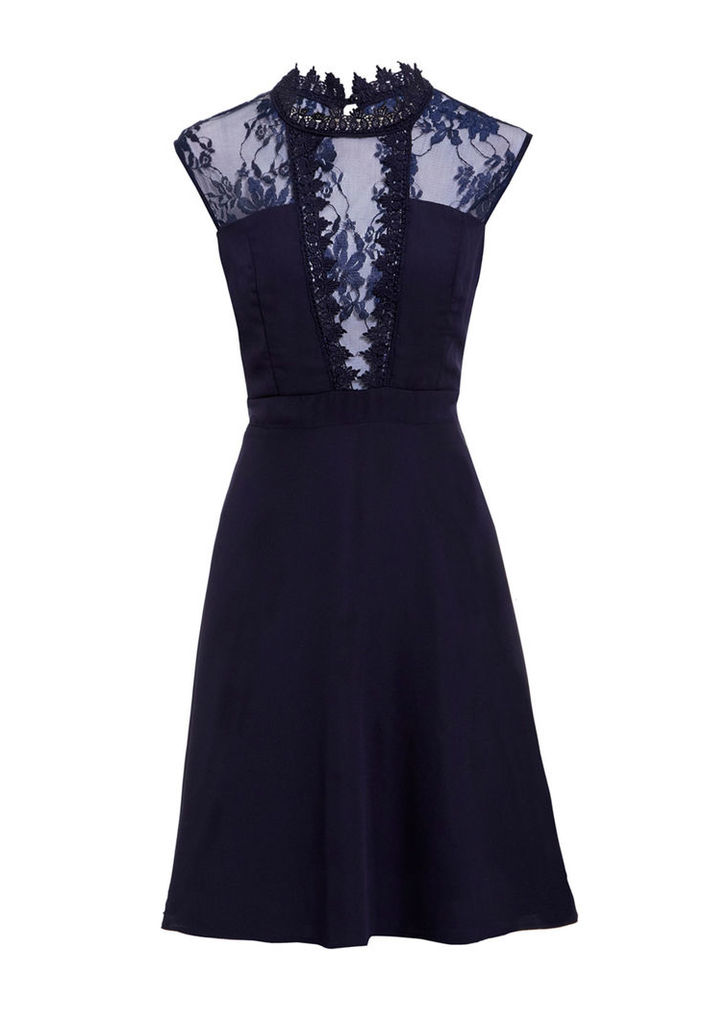 Elise Ryan High Neck Lace Skater Dress in Navy