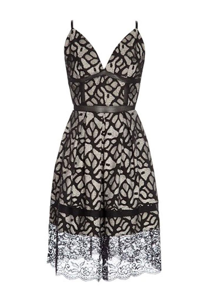 Goddiva Floral Lace Skater Dress in Black