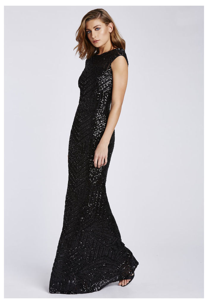 D.Anna Black Sequin Embellished Maxi Dress With Capped Sleeves