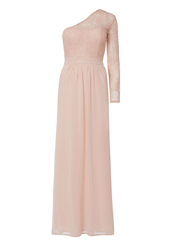 Elise Ryan Lace One Sleeve Maxi Dress In Nude