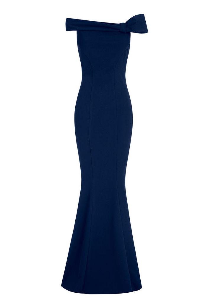 Goddiva Bow Detail Bardot Fishtail Navy Maxi Dress