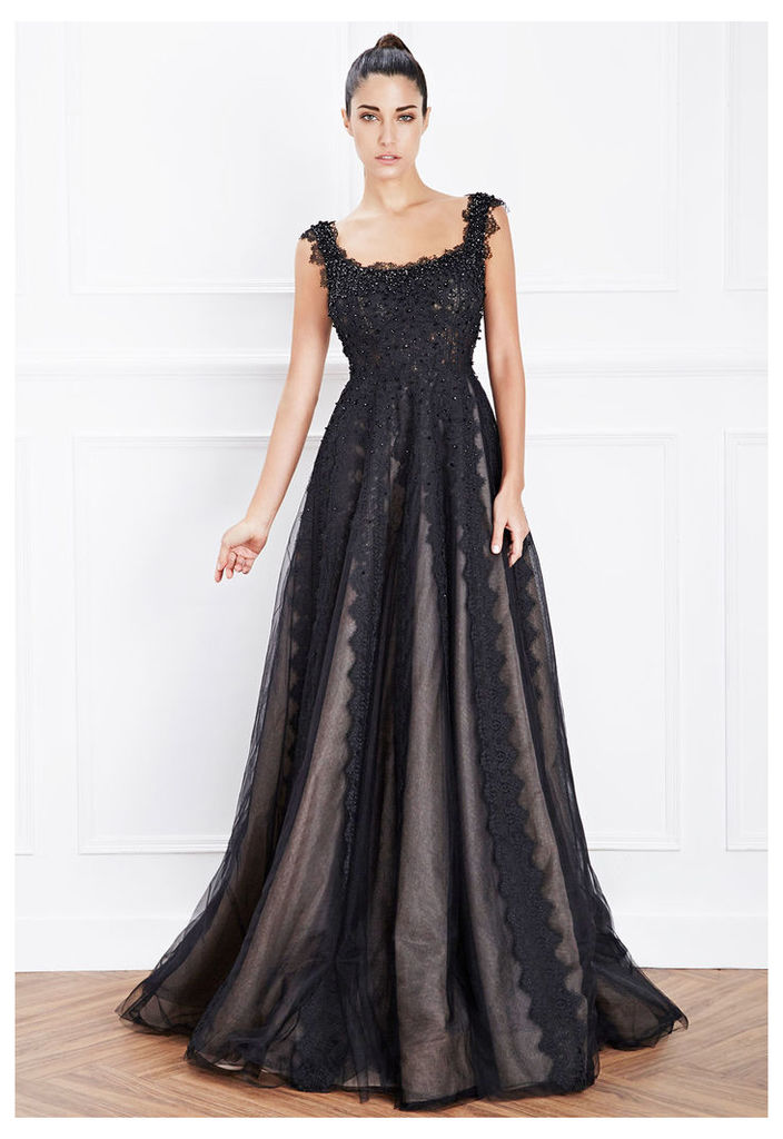 Hemera London Couture Tulle Evening Dress In Black