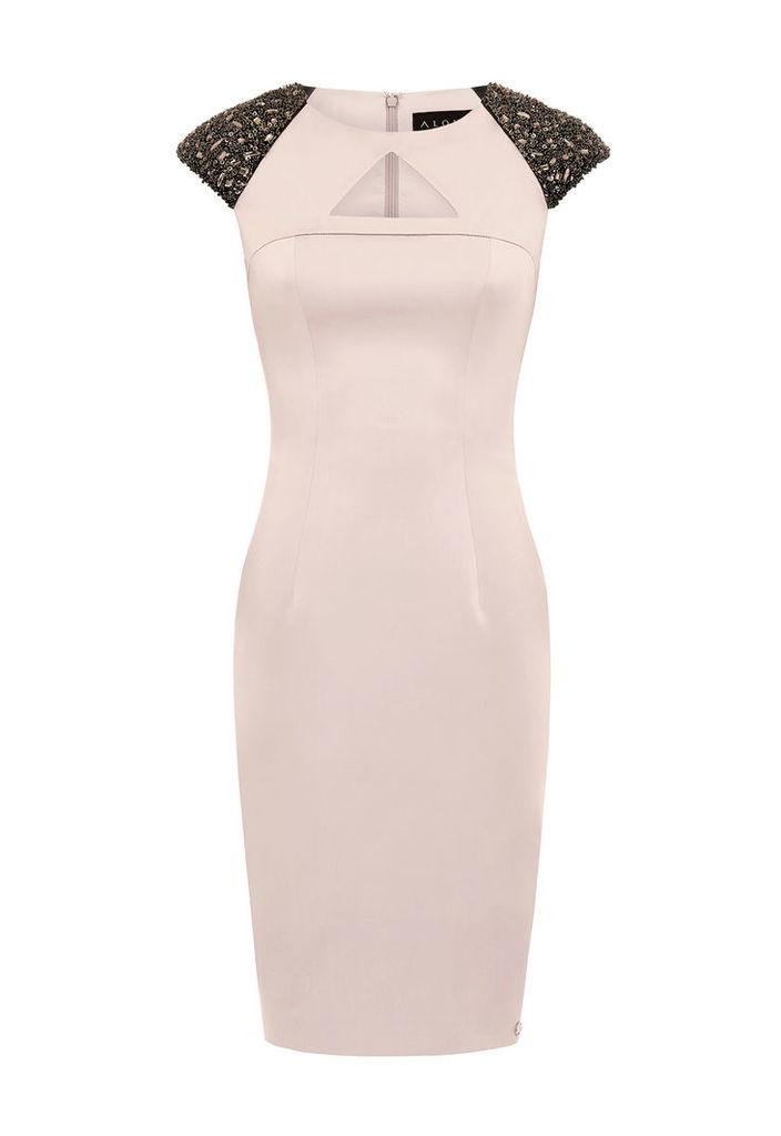 Aloura London Arlington Dress With Shoulder Embellishment In Dusky Pink