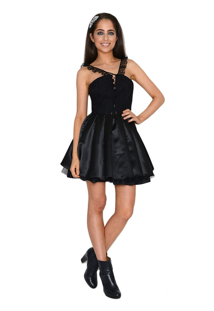 Jones and Jones Madison Lace And Satin Dress In Black