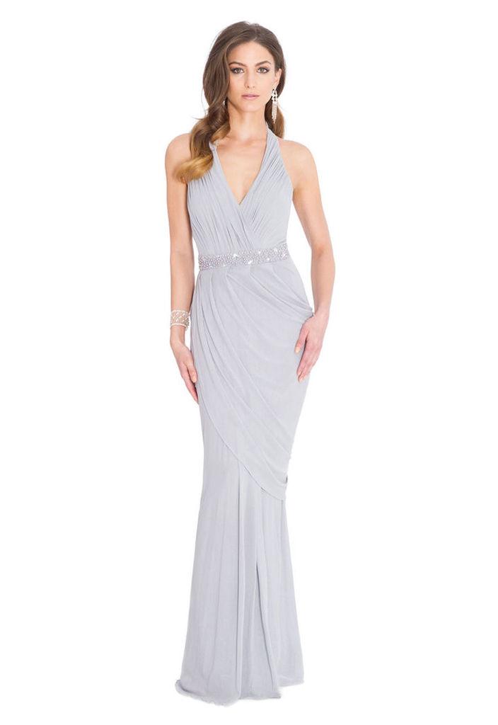 Goddiva Mermaid Hem Halter Maxi Dress in Grey