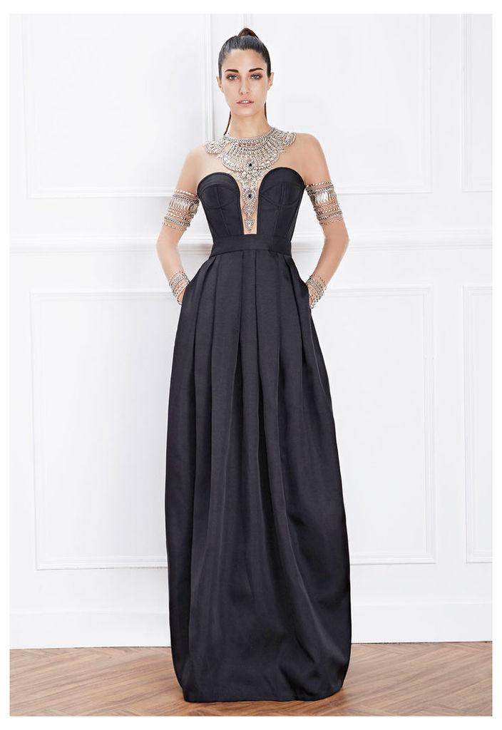 Hemera London Couture Jewel Detail Evening Dress In Black