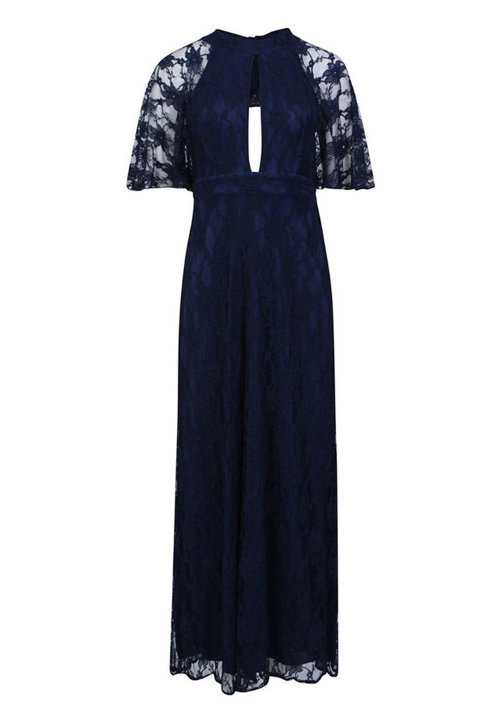 Aftershock London Cait Lace Maxi Dress in Navy