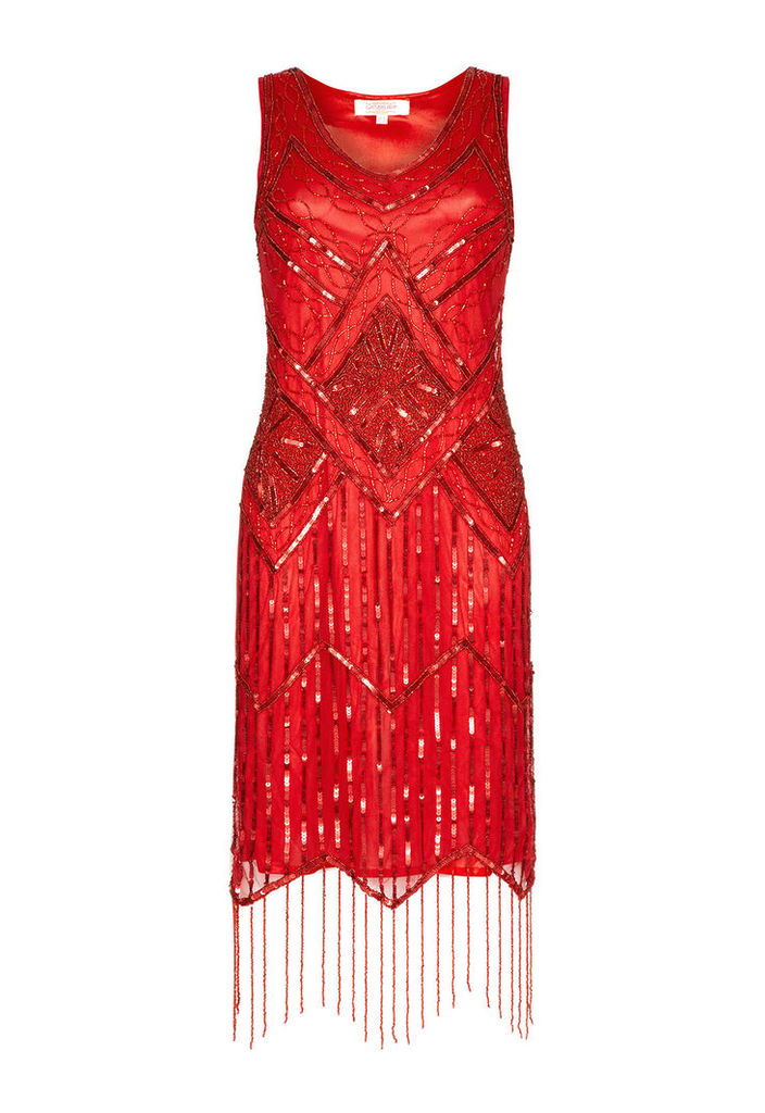 Gatsbylady Isobel Red Fringe Flapper Dress