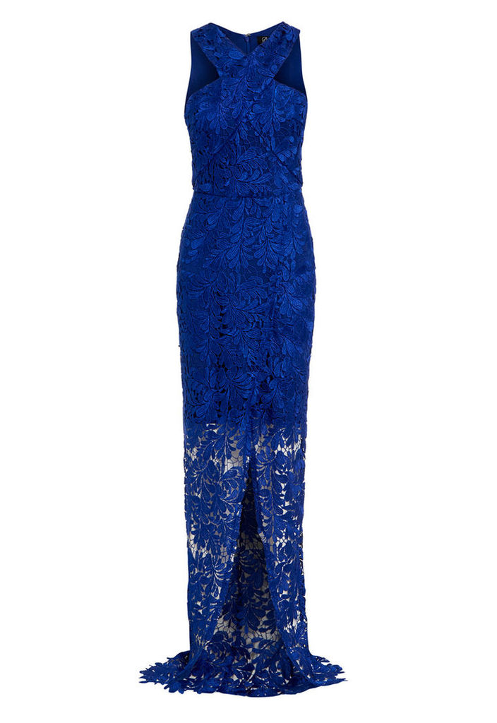 D.Anna Cross Front Lace Maxi Dress In Blue
