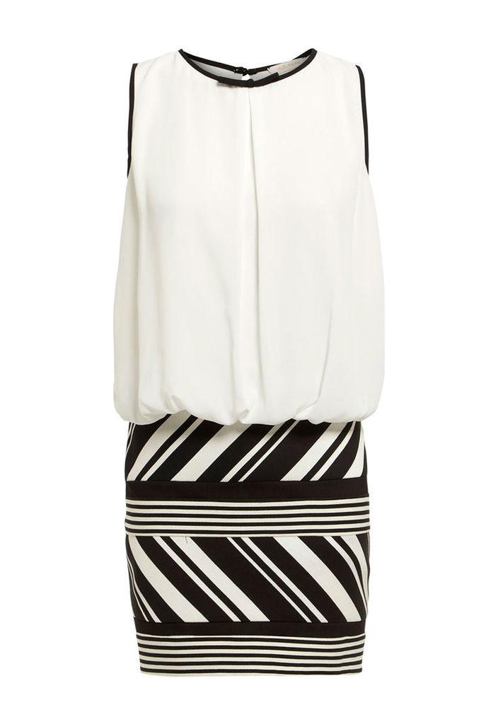 Explosion London Striped Skirt Mini Dress With Chiffon Top