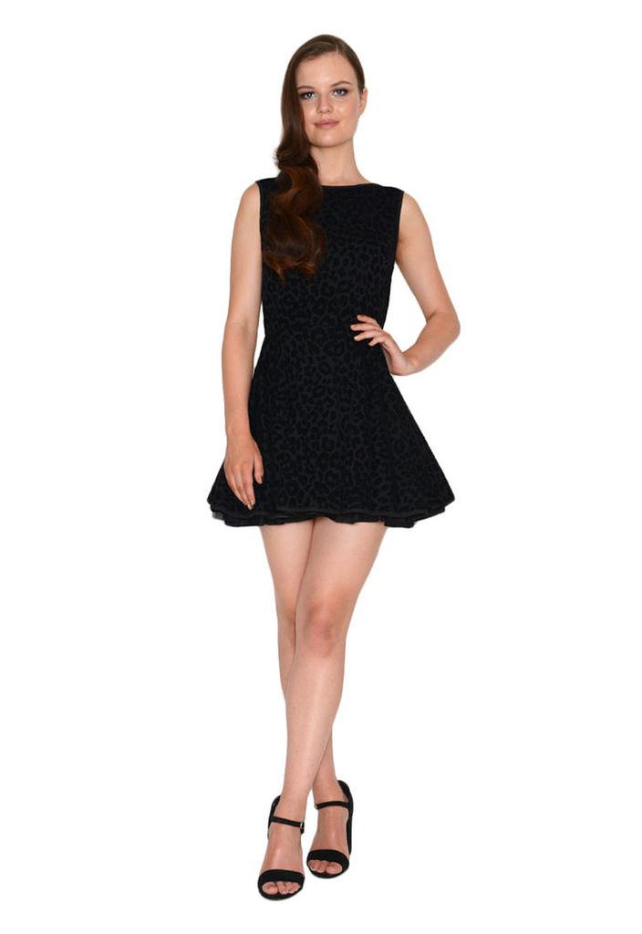 Jones and Jones Vivienne Velvet Leopard Print Dress In Black