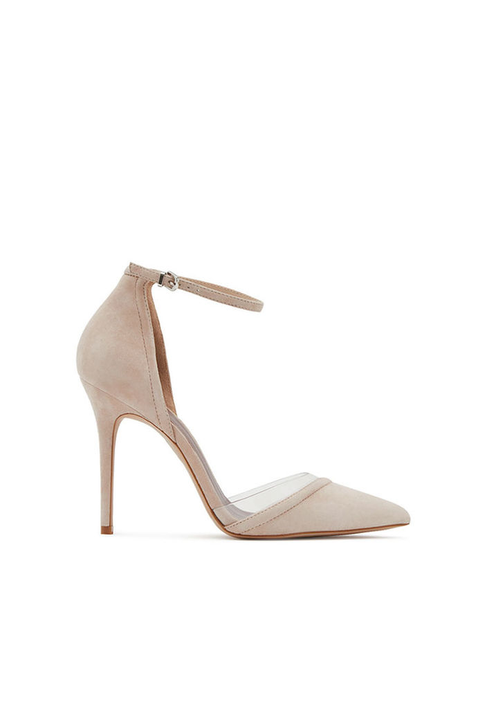 Reiss Gaia Suede Vinyl Shoes in Nude