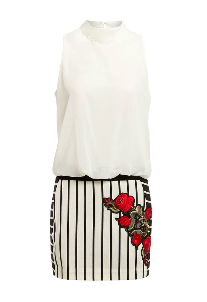 Explosion London Rose Embroidered Mini Dress in White