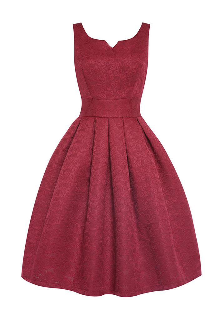 Lindy Bop Felicia Swing Dress in Wine