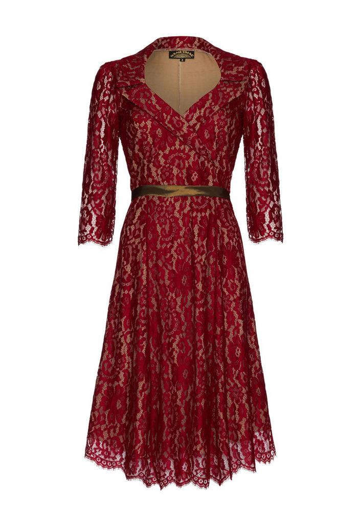 Nancy Mac Gabrielle Dress in Ruby Lace