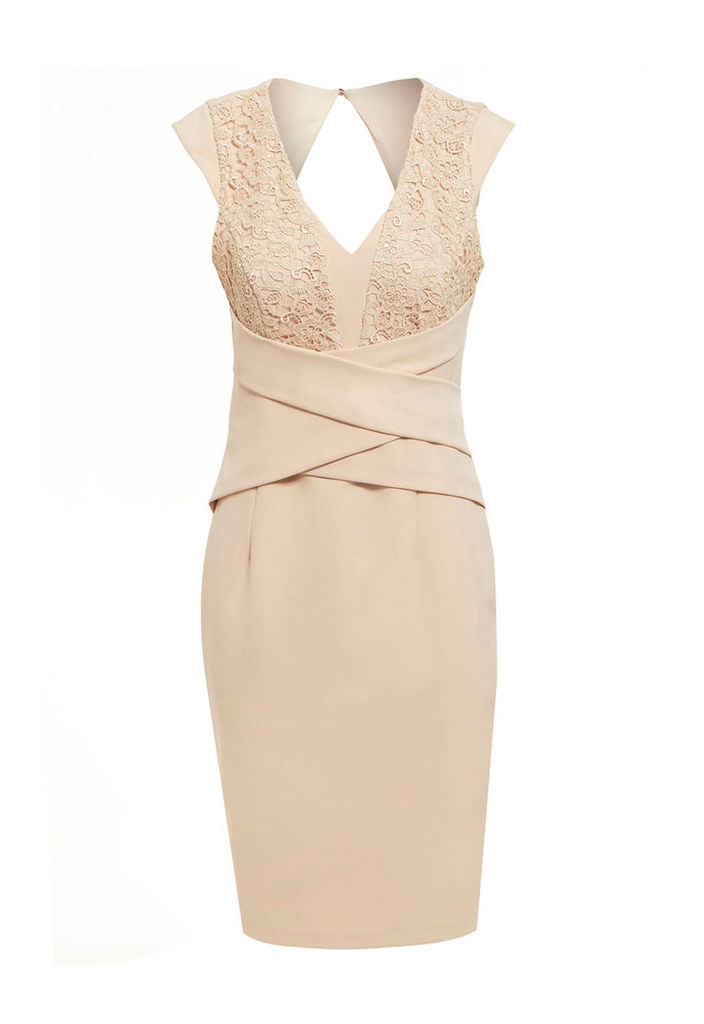 Explosion London Lace and Pleat Detail Dress in Cream