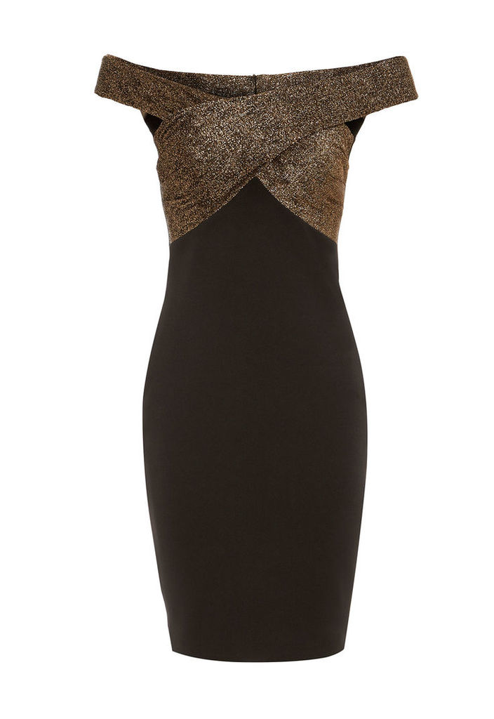 LBD Lola Bardot Bodycon Dress in Black and Gold