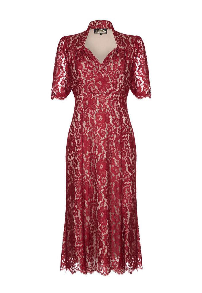 Nancy Mac Eliza Dress in Ruby Flower Lace