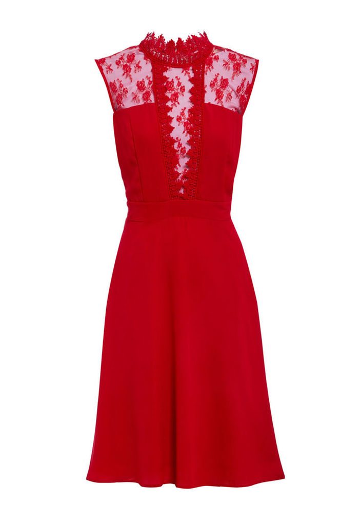 Elise Ryan High Neck Lace Skater Dress in Red