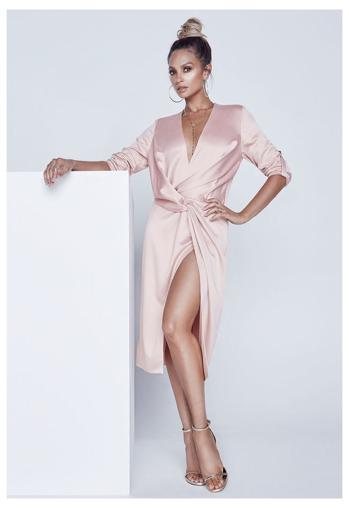 Alesha Dixon Satin Knot Dress in Blush