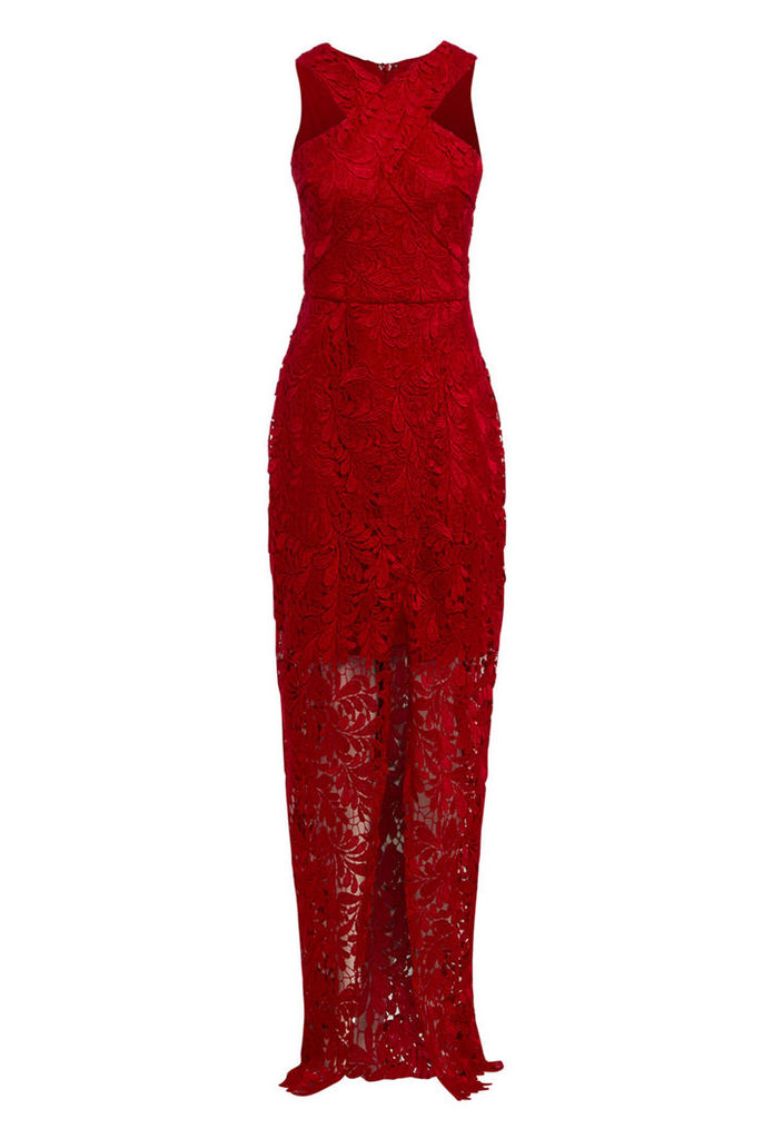 D.Anna Cross Front Lace Maxi Dress In Red
