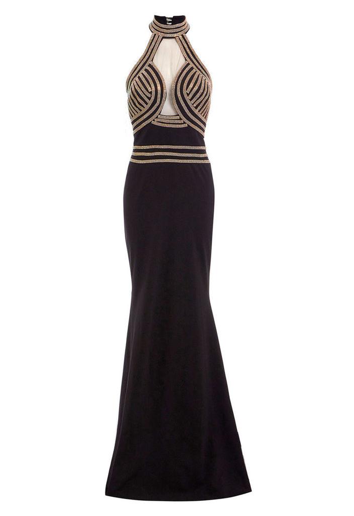 Zibi London Exclusive High Neck Jewel Embellished Maxi Dress in Black