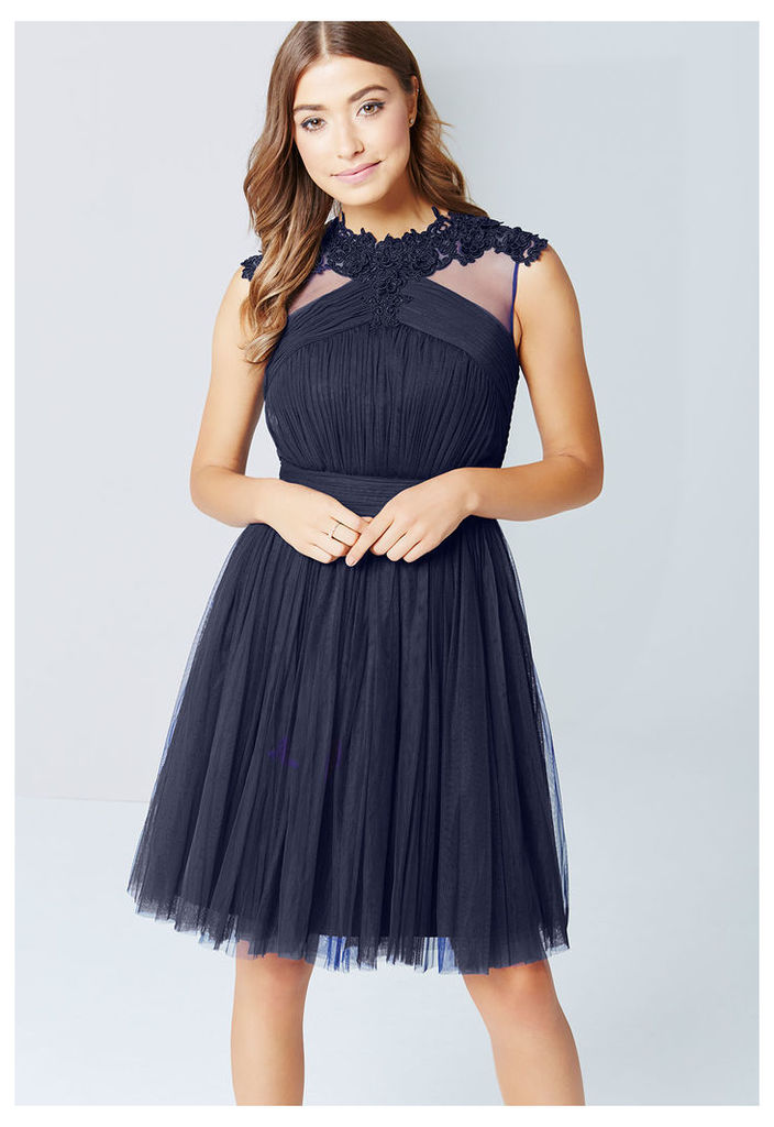 Little Mistress Lace and Mesh Prom Dress in Navy