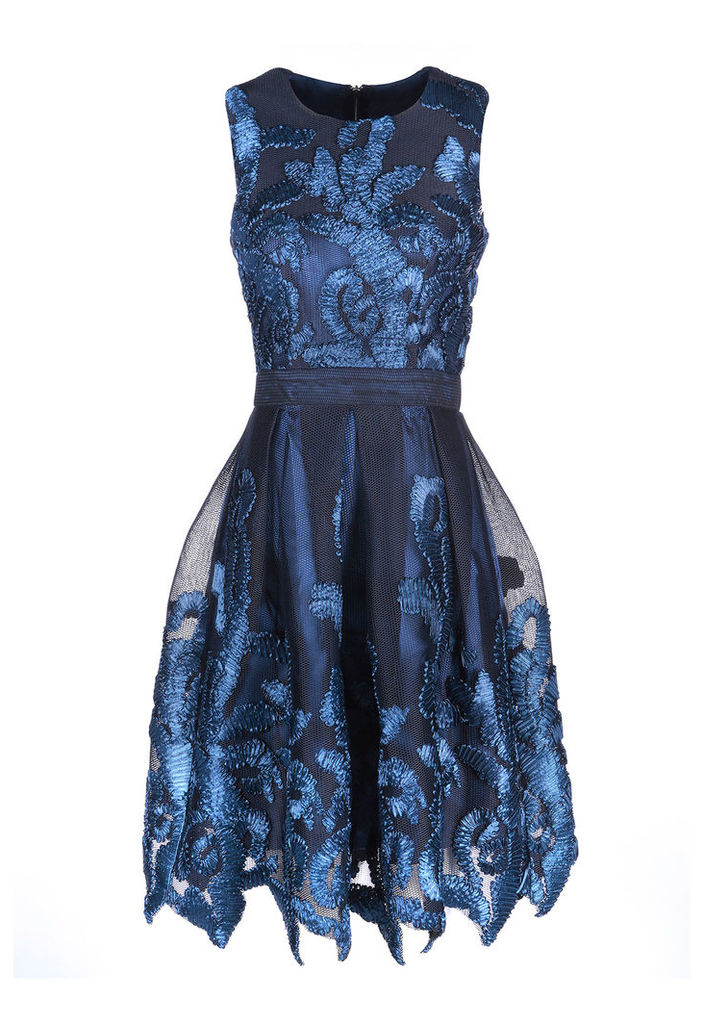 Zibi London Embroidered Net Prom Dress in Navy