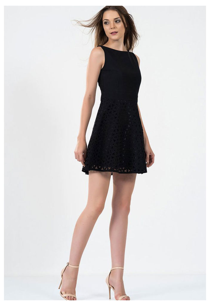 Zibi London Exclusive Ironi Collection Lace Jersey Fit and Flare Dress in Black