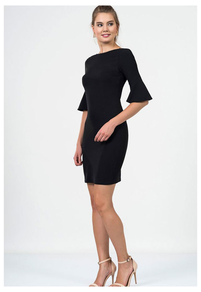 Zibi London Exclusive Ironi Collection Flute Sleeve Shift Dress In Black
