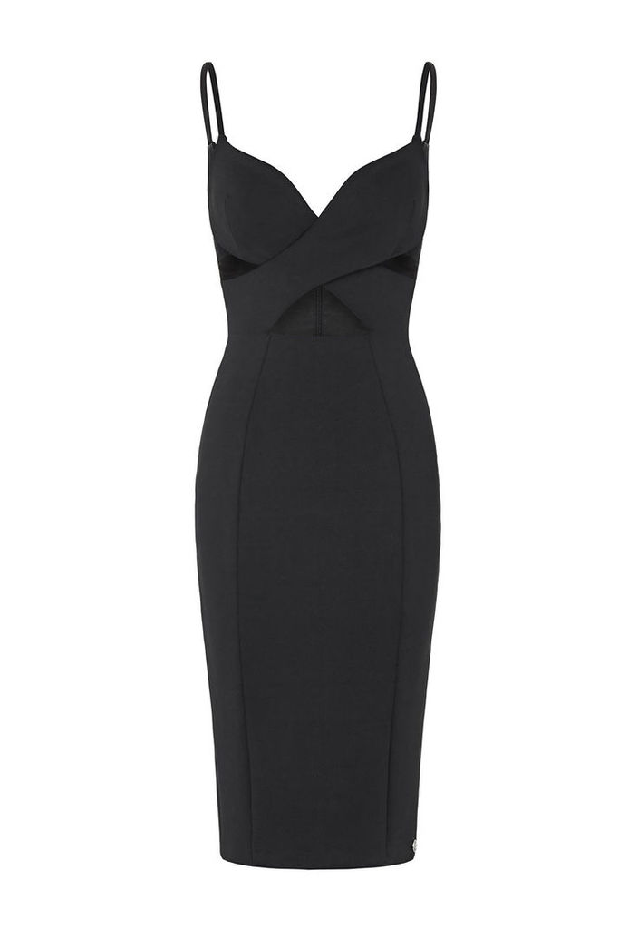 Aloura London Maddox Crossover Front Dress With Cut Out Detail In Black