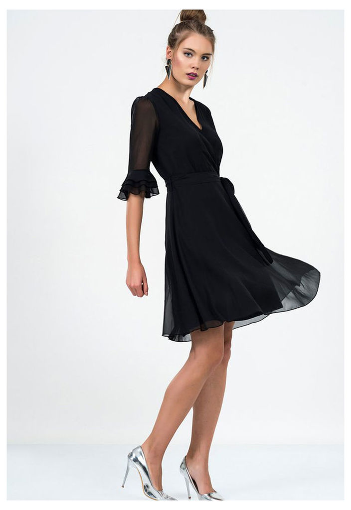 Zibi London Exclusive Ironi Collection 3/4 Sleeve Wrap Dress in Black