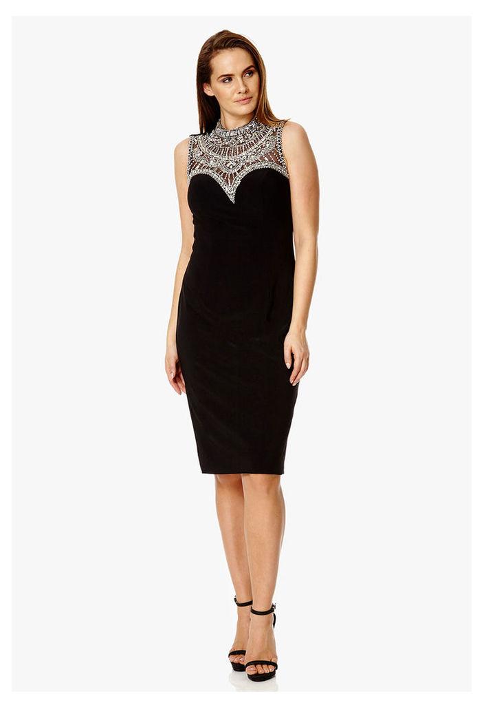 Dynasty London Celina Embellished Neckline Dress in Black