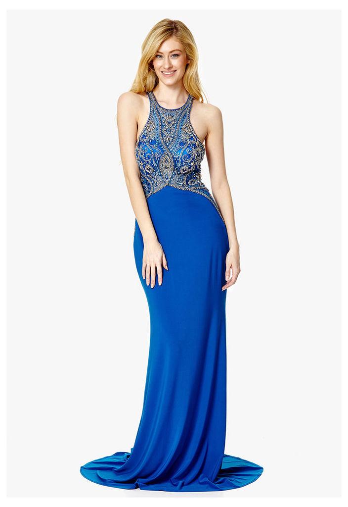 Dynasty London Isabella Embellished Racer-Neck Maxi Dress in Royal Blue