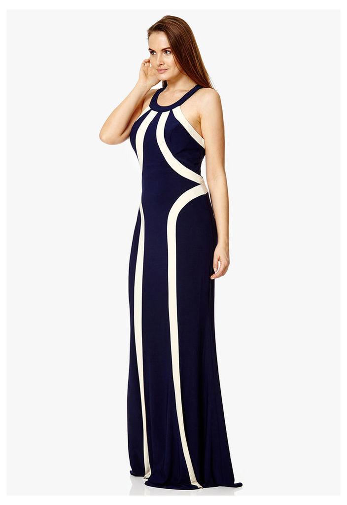 Dynasty London Doralina Maxi Dress in Navy & Champagne