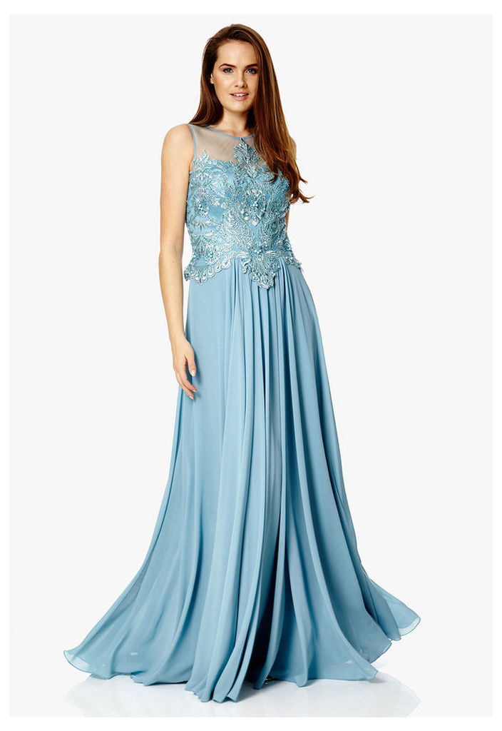 Dynasty London Leia Lace Embroidered Maxi Dress in Smokey Blue