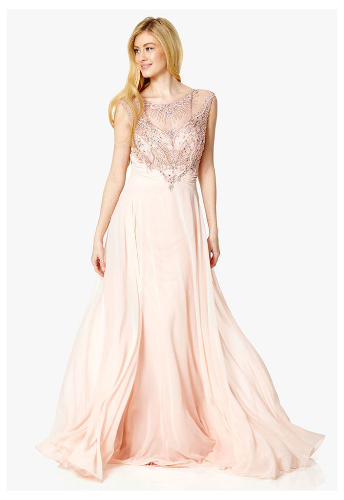Dynasty London Mabel Embellished Maxi Dress in Blush