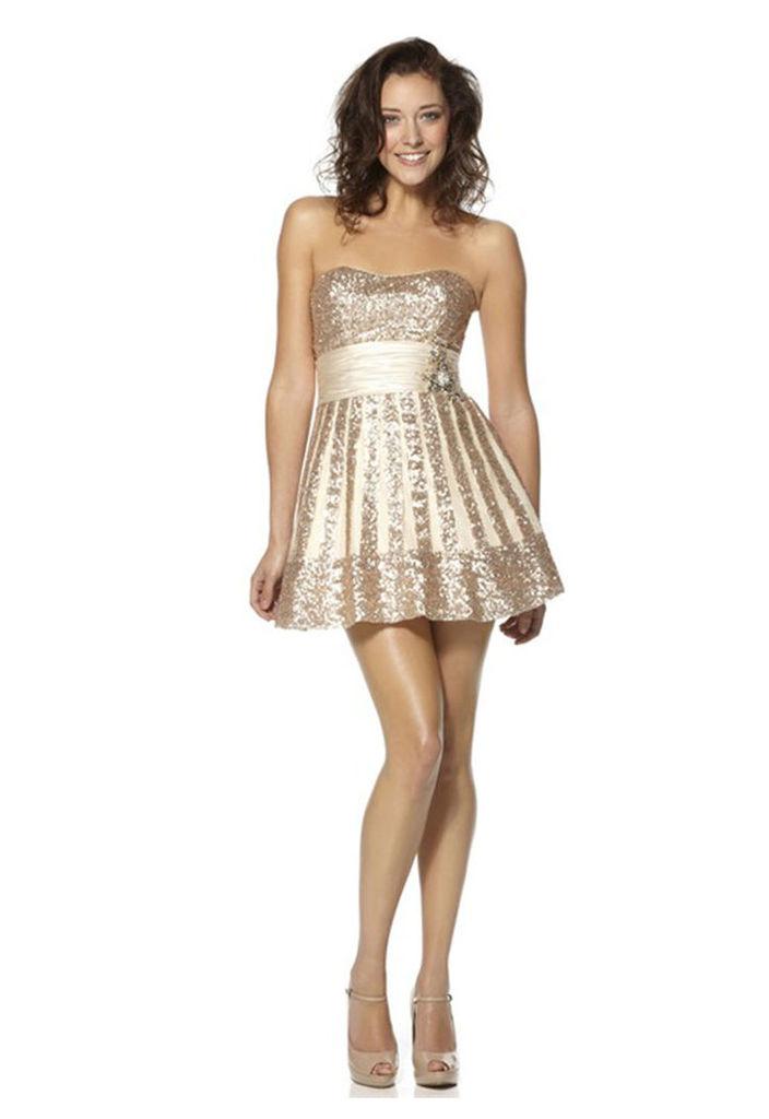 Dynasty Yasmin Champagne Short Skater Dress