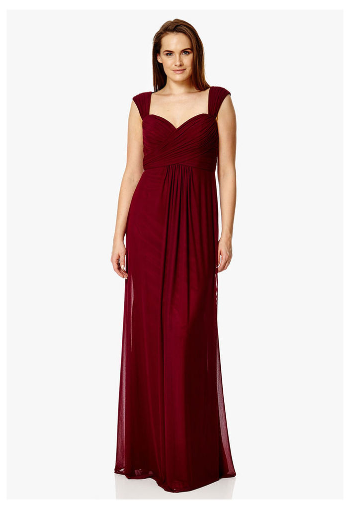 Dynasty London Anthea Lace Detail Maxi Dress in Burgundy