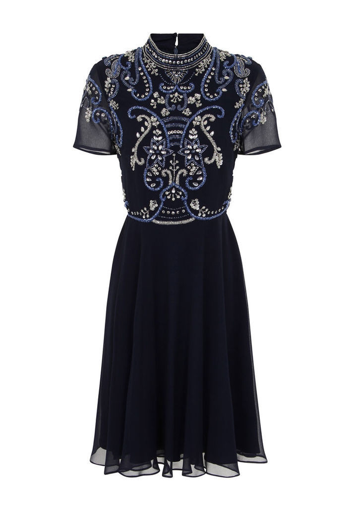 Frock and Frill Vana Skater Dress In Navy