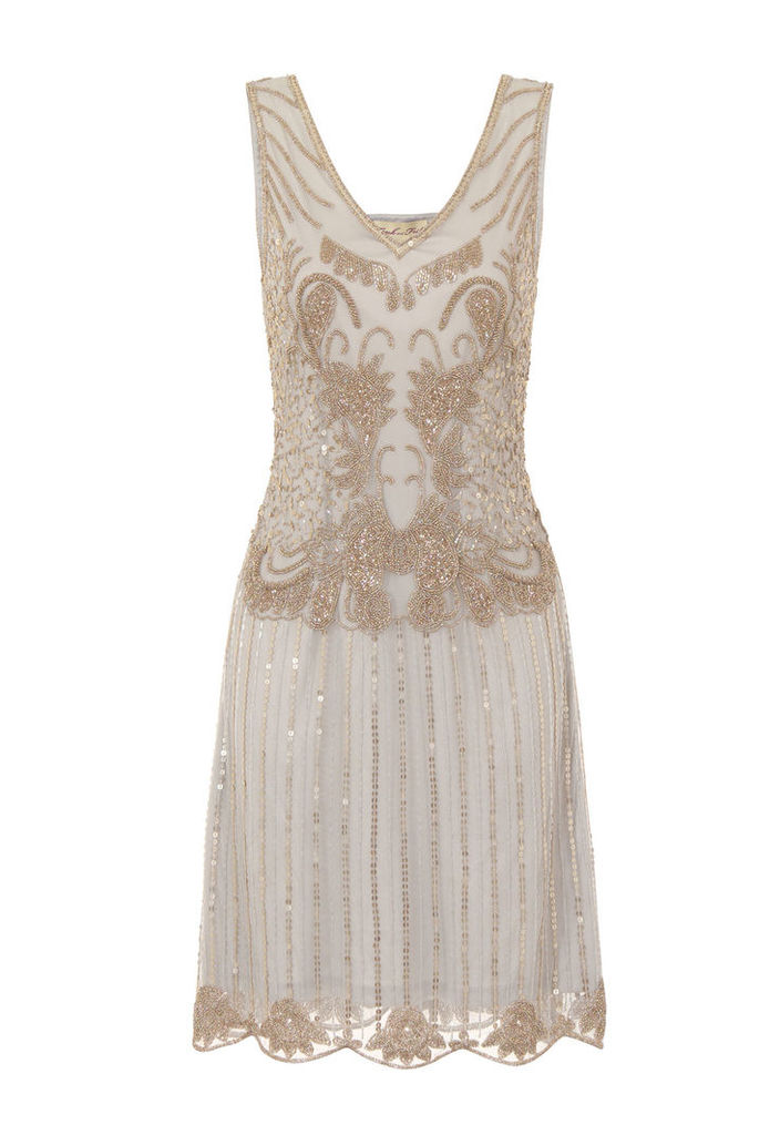 Frock and Frill Annabelle Sequin Flapper Dress in Light Grey