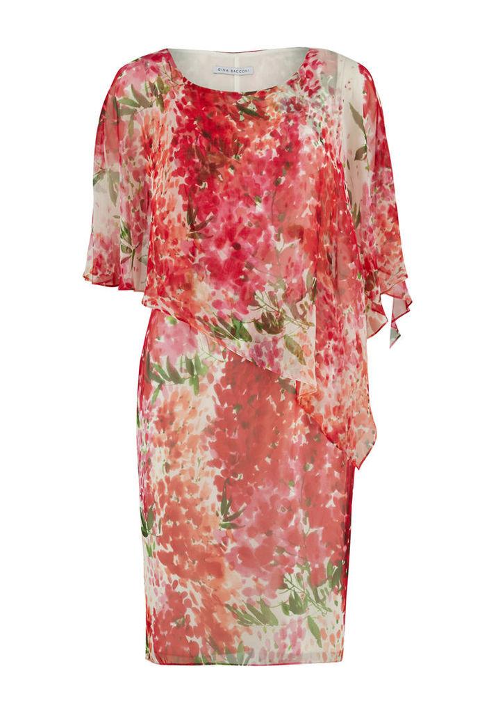 Gina Bacconi Water Colour Chiffon dress with Cape