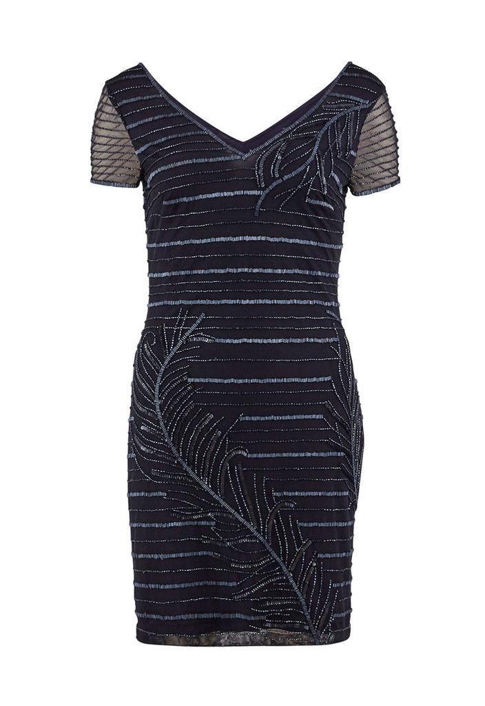 Gina Bacconi Beaded Mesh Dress