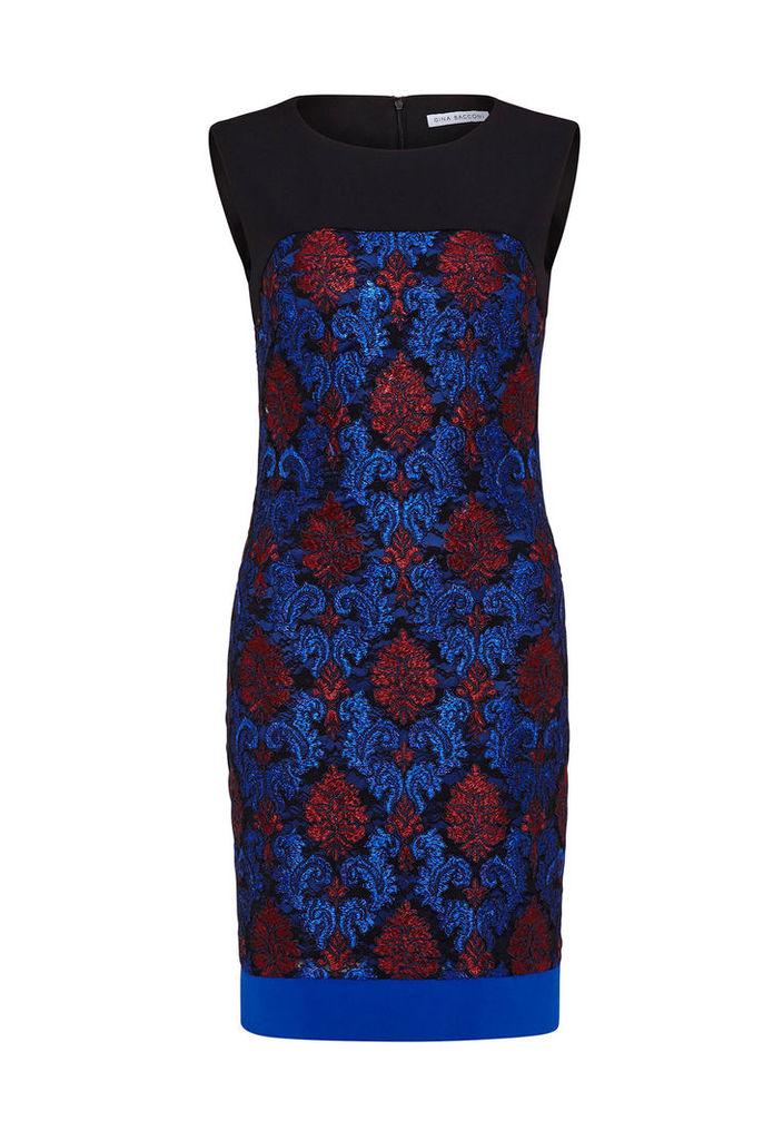 Gina Bacconi Brocade Embroidered Dress
