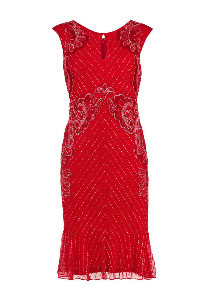 Gina Bacconi Embellished Dress in Red